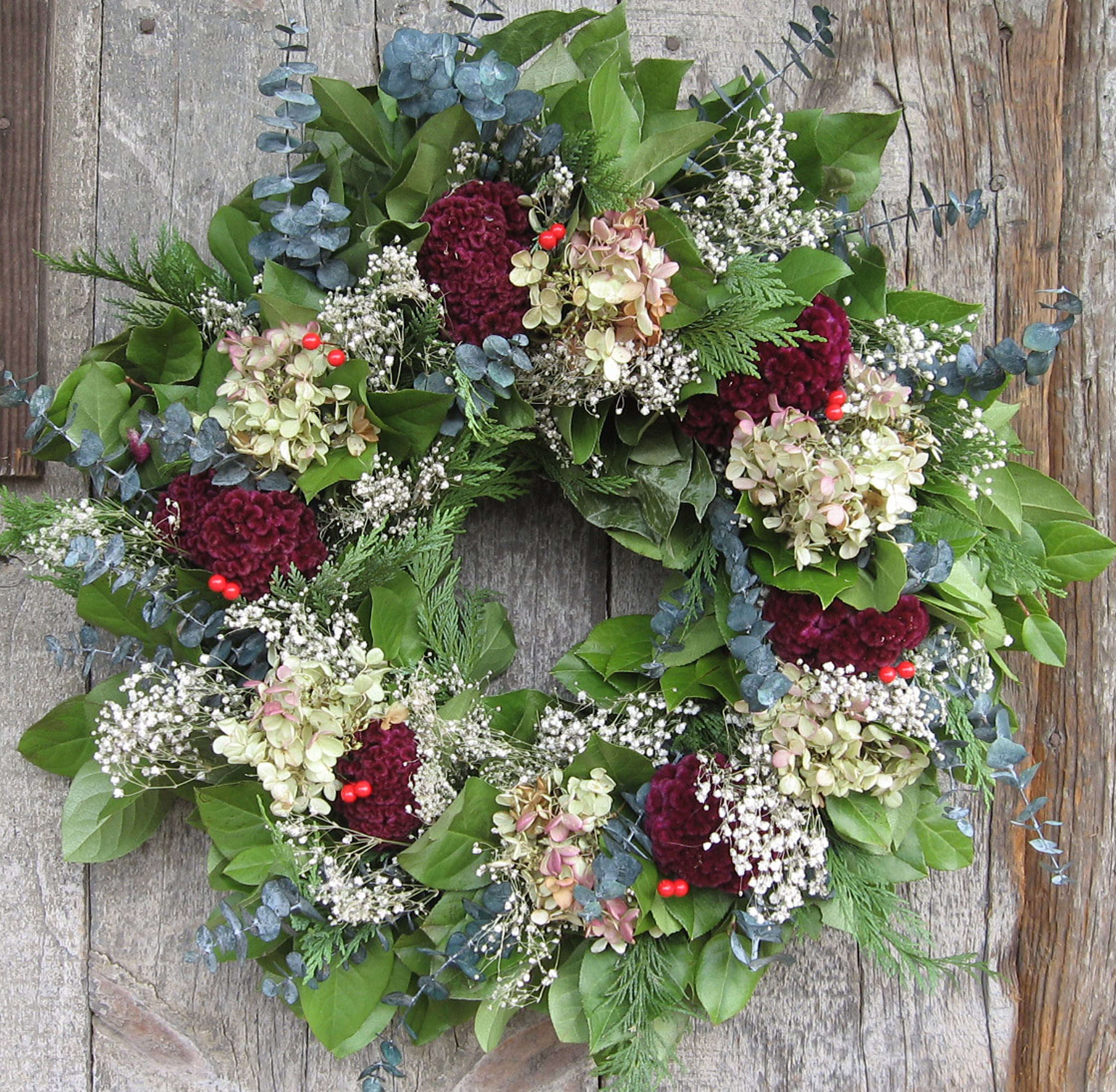 holiday wreath with dried flowers and berries this gorgeous wreath ...